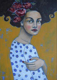 Portrait Greeting Card featuring the painting Moody Blues by Jane Spakowsky Art And Illustration, Fine Art Amerika, Images D'art, Art Rupestre, L'art Du Portrait, Figurative Kunst, Creation Art, Art Populaire, Art Sculpture