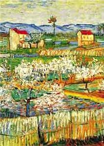 Peach Trees In Bloom 1888, a painting by Vincent Van Gogh