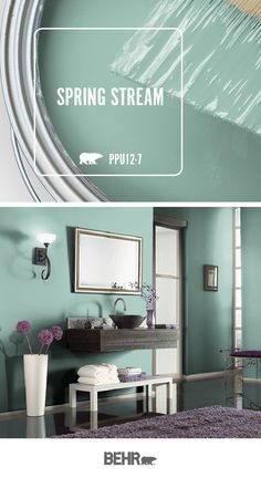 Sleek and modern, this master bathroom features a new coat of Behr Paint in Spring Stream on the walls. This bright blue-green hue pairs beautifully with the metal finishes and purple accents in this room. Click below for full color details. Living Room Green, Paint Colors For Living Room, Paint Colors For Home, House Colors, Livingroom Paint Ideas, Kitchen Paint Colors, Bright Kitchen Colors, Blue Green Kitchen, Indoor Paint Colors