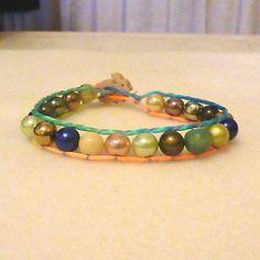 Multi coloured  bunny button wrap bracelet £4.00