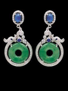 Jadeite Sapphire Diamond Earring, On Cheong Jewellery