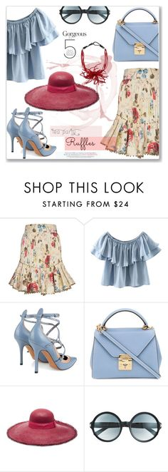"""""""Tea Party Ruffles"""" by jan31 ❤ liked on Polyvore featuring Zimmermann, WithChic, Valentino, Mark Cross, Sensi Studio, Tom Ford and Brunello Cucinelli"""