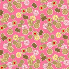 Tea Party - Makower - Biscuits Pink £2.85 http://www.thehomemakery.co.uk/fabric/makower/tea-party/tea-party-makower-biscuits-pink