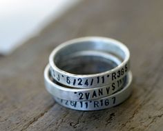 Personalized silver stamped stacking rings by monkeysalwayslook monkeys always look >> There is nothing this shop does not do perfectly! Love it all!