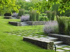 Rhythmic sequences of paths and plantings in a garden on New York's Long Island. Edmund Hollander Design.