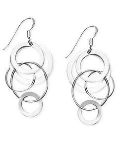Studio Silver Sterling Silver Earrings, Circle Drop Earrings - Earrings - Jewelry & Watches - Macy's
