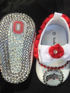 Ohio State size one bling baby shoes by RoyalBearBling on Etsy