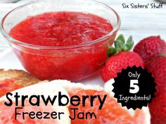 Mom's Easy Strawberry Freezer Jam from SixSistersStuff.com. Only 5 ingredients and tastes great on just about anything! Great step-by-step instructions. This recipe is fool-proof! #recipes #jam #strawberry