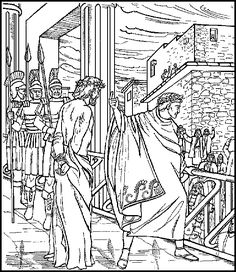 coloring pages of Jesus before Pilate Make your world more colorful with free printable coloring pages from italks. Our free coloring pages for adults and kids. Farm Animal Coloring Pages, Bible Coloring Pages, Coloring Books, Bible Story Crafts, Bible Stories, La Passion Du Christ, Bible Doodling, Christian Artwork, Christian Crafts