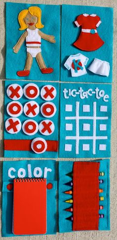 """At Second Street: On the Go Activity Book - Cute pattern for tic-tac-toe ... could also use the coloring page idea as well... maybe make a """"games"""" quiet book?"""