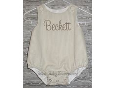 Khaki Seersucker Monogrammed Shortall, Longall, Baby Bubble Romper or Dress, Custom Made-to-Order Outfit, Matching  Brother Sister