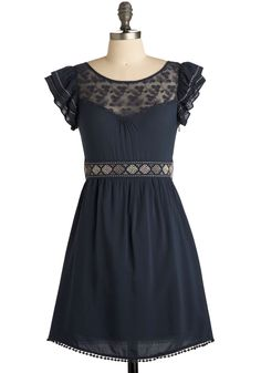 Indie Darling Dress in Navy rayon with a sheer lace yoke by Moon Collection #ModCloth #fauxSS