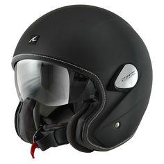 Jet motorcycle helmet: Scooter helmet for short urban journeys Leather Motorcycle Helmet, Open Face Motorcycle Helmets, Dirt Bike Helmets, Biker Helmets, Full Face Helmets, Motorcycle Gear, Riding Helmets, Scooter Helmet, Bicycle Helmet