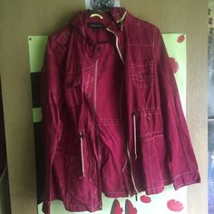 Unique red /maroon military jacket L Red/burgundy utility/ trench/  military/ layering jacket (I don't really know the name) I hand dyed it and the color didn't get everywhere as you can see in the (3rd) pic. It kinda has a tie dye vibe but it's not super noticable! Size large will fit a medium. Worn only once! PacSun Jackets & Coats Utility Jackets