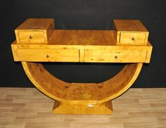 - Eye catching blonde walnut art deco style console table<br /> - Four…