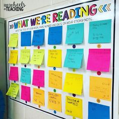25 Sticky Note Teacher Hacks You'll Want to Steal Sticky Notes Head over Heels for Teaching Year 6 Classroom, Reading Corner Classroom, Middle School Reading, 5th Grade Reading, Classroom Ideas, Classroom Libraries, Future Classroom, Ks1 Classroom, Classroom Walls