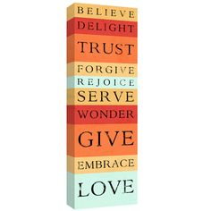 Love Give Serve, Tangerine Striped Bus roll scripture wall decor canvas art 10x30 canvas stock orange art ready to hang. $95.00, via Etsy.