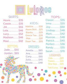 Unicorn LuLaRoe Price List Poster Instant by MichelleRayeDesigns