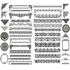 INSTANT DOWNLOAD Vintage Calligraphy Clip art Design Style Elements Divider Wedding Invitation Embellishments Flourishes Swirls and Frames