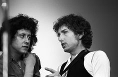 American folk singers Arlo Guthrie and Bob Dylan performing on May 9 1974 at The Friends Of Chile Benefit Concert at the Felt Forum at Madison Square...