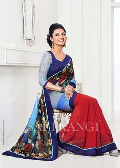 Buy Online Saptrangi Blue And Marron Digital Print Casual Saree/101