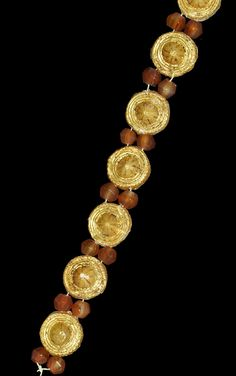 Roman Gold and Carnelian Bead Bracelet, 1st century B.C.-1st century A.D.