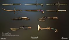 Some of the weapons I've done during my 4 months at Ubisoft Annecy. It was really fun to do, so thanks to the character team for giving me the opportunity to work on this.