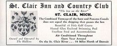 St Clair Inn and Country Club St Clair Michigan Hotel 1956 Travel Tourism AD