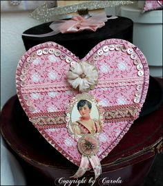Embellished heart candy box by Boxwood Cottage