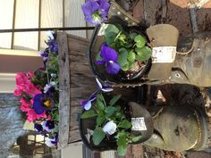Rustic gardening ideas. Men's leather work boots.