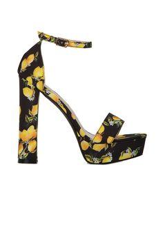 Πέδιλα Ψηλοτάκουνα Floral-Μαύρο -  ΓΥΝΑΙΚΕΙΑ ΠΑΠΟΥΤΣΙΑ - LUIGI FOOTWEAR