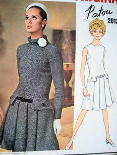 1960s  PATOU Drop Waist Dress Pattern VOGUE PARIS Original 2013 Front Pleats Standing Bias Collar or Jewel Neckline Very KATE MIDDLETON Bust 34 Vintage Sewing Pattern