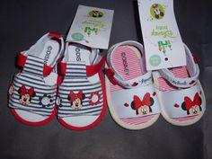 Sandalinhas Minnie, da Disney,  sola antiderrapante,  tamanhos de momento, dos 3 aos 12 meses  13 € portes de correio incluidos para Portugal