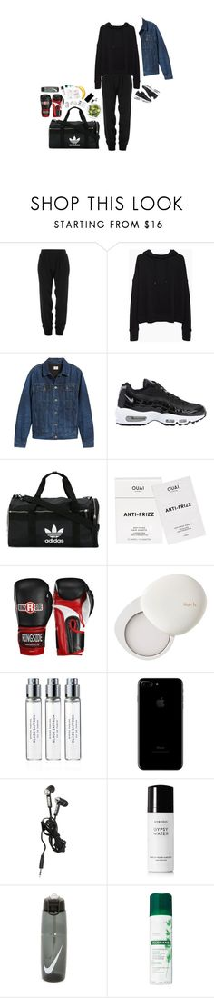 """My day"" by the-lonely-wallflower ❤ liked on Polyvore featuring ATM by Anthony Thomas Melillo, MILK MAKEUP, rag & bone/JEAN, AG Adriano Goldschmied, NIKE, adidas, Ouai, lilah b., Byredo and Hot Topic"