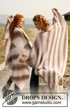 """Knitted DROPS blankets in garter st with 1 large square or 6 small squares in """"Verdi"""". ~ DROPS Design"""