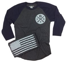 Men's Old Glory Baseball Raglan T Shirt (Heather Black / Navy)