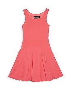 Un Deux Trois Girl's Fit-&-Flare Dress - Coral