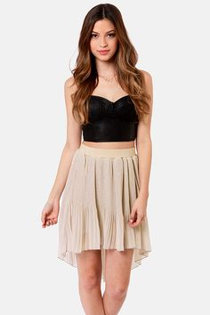 Pretty Beige Skirt - High-Low Skirt - Pleated Skirt - $54.00