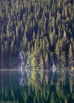 Waterfalls at Black Lake, national park Durmitor, Montenegro.