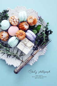 Beautiful styling. Canelles and French Macarons