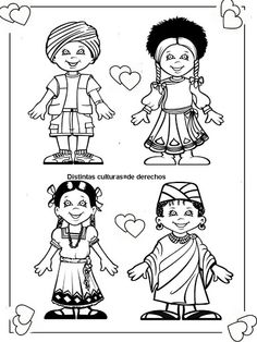 Pinto Dibujos: cute coloring page of children around the world. Cute Coloring Pages, Coloring Pages For Girls, Pattern Coloring Pages, Coloring Pages To Print, Coloring For Kids, Around The World Theme, Around The World In 80 Days, People Of The World, Around The Worlds