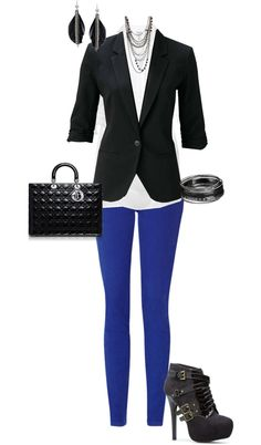 "Cobalt Pants, White Button Down Blouse and a Black Blazer.  ""Edgy Business Casual"" by erinlindsay83 on Polyvore"