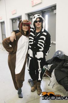 Norman Reedus and Sarah Wayne Callies (Daryl Dixon and Lori Grimes) in their Wolf and Skeleton Kigurumi