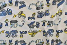 Kinderstof tricot vrachtwagen wit | Het Stoffenwinkeltje