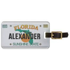 #Florida License Plate with your Name Bag Tag - #travel #accessories