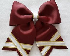 Maroon Gold and White Hairbow by MyBowsPlusMore on Etsy