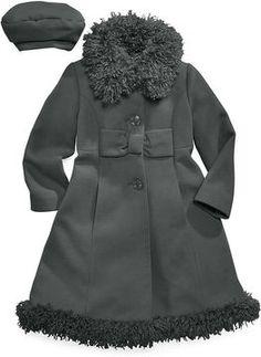 S. Rothschild Kids Coat- Girls or Little Girls Velvet Bow Trim ...