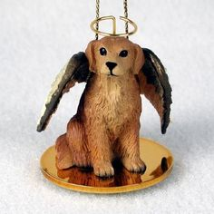Hand Painted Golden Retriever Figurine Adorned as an Angelic Pet Ornament