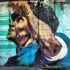 Maradona 86 street art - Palermo, Buenos Aires, Argentina. Palermo, Street Art Love, Face Art, Urban Art, Art Forms, Illustration Art, Illustrations, Wall Murals, Pop Art