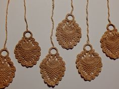 Six Vintage Lace Shade Pulls Cotton Lace Drops Look Handmade Shabby Chic Cottage Curtain Pulls for Windows 1930's Fashion Home Decor by OffbeatAvenue on Etsy